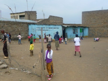 2017-9-28CHILDREN PLAYING OUTSIDE NAIVASHA GBF CHURCH STRUCTURE