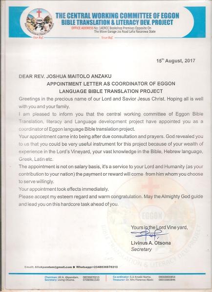 eggon bible translation appointment