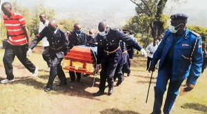 thumbnail_Moli's fellows Policemen carry his Casket on burial day